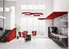 modern red kitchen interior of modern black white red kitchen 3d render stock photo