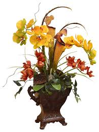 Red Orchids Yellow And Red Orchids In Resin Vase Traditional Artificial