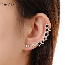 top earing jacoso jewelery black flower left earring clip top fashion
