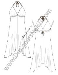 v54 handkerchief hem halter dress flat fashion sketch dress