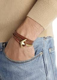 leather wrap bracelet with anchor images Lyst miansai brown double wrap leather anchor bracelet in brown jpeg