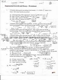 all grade worksheets exponential growth and decay worksheet