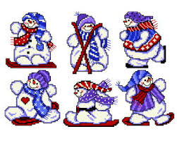 six sports snowman ornaments cross stitch pattern ornaments