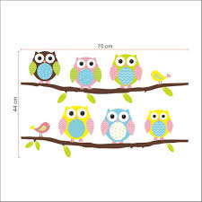 cartoon cute six owl on the tree diy wall wallpaper stickers art cartoon cute six owl on the tree diy wall wallpaper stickers art decor mural kid s child room decal waterproof amazon co uk office products