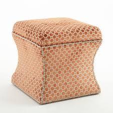 curved edge velvet dot ottoman soft orange scenario home