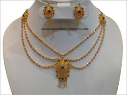 22 carat gold antique light weight necklace sets jewellery