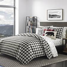 black plaid king size duvet cover set white checked bedding cabin