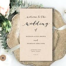 folded wedding programs template folded wedding program template rustic edit yourself in