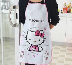 tablier de cuisine hello kawaii bonjour adulte taille 70 50 cm femmes dame de cuisine