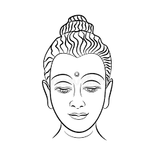hand drawn buddha face vector inspirational poster for meditation