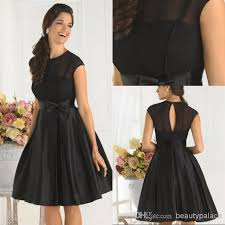 simple cheap black cocktail dress a line jewel cap sleeves knee