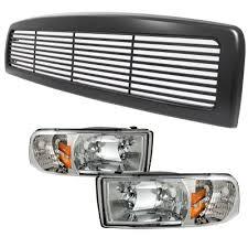 2001 dodge ram headlights dodge ram 1994 2001 black billet grille and clear headlights