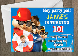 Birthday Invitation Cards Alvin And The Chipmunks Birthday Invitations Kawaiitheo Com