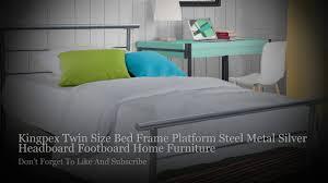 kingpex twin size bed frame platform steel metal silver headboard