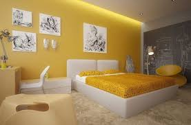 Yellow Bedroom Curtains Bedroom Contemporary Yellow Bedroom With Awesome Wall Art