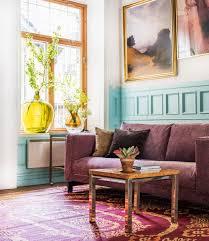 nockeby sofa hack dusty pink velvet sofa retro coffee table blue wood panelling