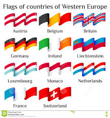 Flags Of European Countries Flying Flags Of Western Europe Countries In Waves Stock Vector