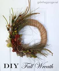 diy fall wreath in the garage