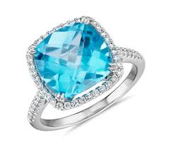 topaz engagement ring cushion cut swiss blue topaz diamond halo cocktail ring in 14k white