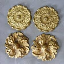 6 antique gilt brass architectural furniture ornaments