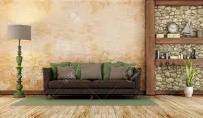 retro livingroom retro living room with sofa wall and wooden shelf