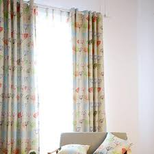beige botanical print cotton nursery or kids room grommet curtains