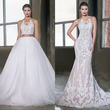 champagne lace mermaid wedding dresses with detachable skirt