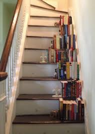 Unfinished Bookshelf White Painted Wooden Bookcase Stairs With Ladder Traditional