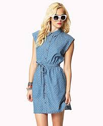 forever 21 polka dot chambray shirt dress in blue lyst