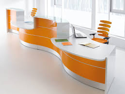 Circular Reception Desk Valde Curved Circular Reception Desk In Orange Reception Desks
