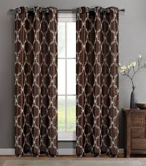 single gael chocolate faux silk window curtain panels w grommets