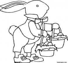 printable easter bunny with two baskets coloring sheet printable