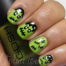 frankenstein halloween nail art qtplace