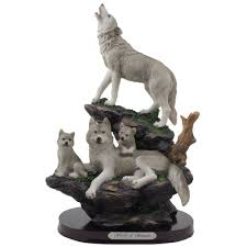 timber gray wolf hunter family pack on wood base figurine gift