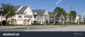 row houses banner image colorful fenced row houses stock photo 47061046