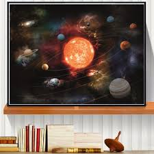3d solar system canvas art print painting poster wall pictures for
