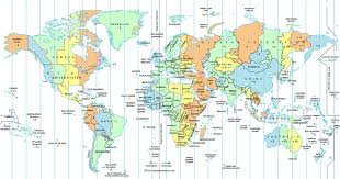 world map with country names and latitude and longitude time zone map