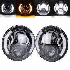 round led lights for jeep 7 round led headlights bulb white drl amber turn signal for jeep