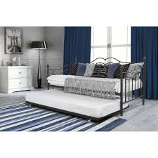 Daybed With Trundle And Mattress Size Daybeds With Trundle Bed In Brushed Bronze Metal Finish