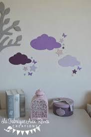 deco chambre gris et mauve stickers nuage étoiles papillons mauve violet parme gris rose
