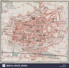 Italy Cities Map by Lucca Vintage Town City Map Plan Italy 1924 Stock Photo