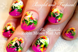 pink tropical neon flower nails neon tip nail art design