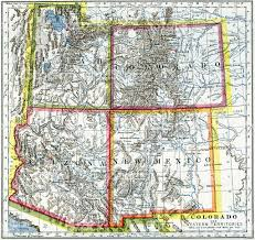 Map Of Sw Usa by Utah Colorado Arizona New Mexico Map 1883 Stock Photo 505717084