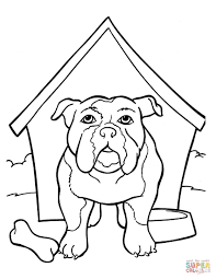 bulldog is in the kennel coloring page free printable coloring pages