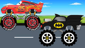 youtube monster truck videos batman monster truck vs disney lightning mcqueen trucks for