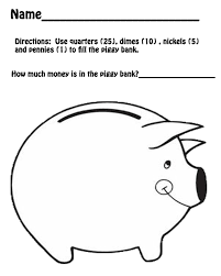 free printables for math piggy bank counting money and kids work