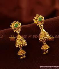 buy online rings images Er426 green stone double jumkhi gold like design ear ring buy online jpg