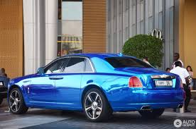 roll royce blue chrome blue rolls royce ghost v specification in dubai the saudi