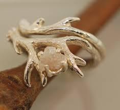 etsy diamond rings images Antler ring 2 set with raw diamondrough diamond jpg