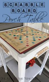 Upcycle Crafts - scrabble game board table an upcycle craft project porch table